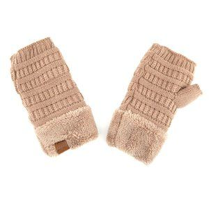 C.C Fingerless Solid Color Glove W. Sherpa Lining